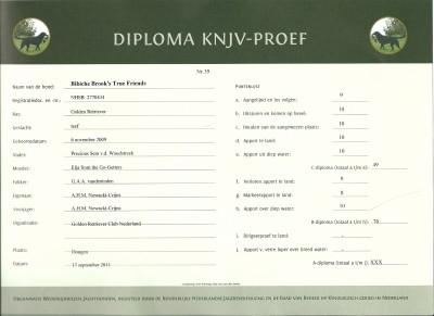KNJV B diploma, 1 ste plaats met 76 punten!